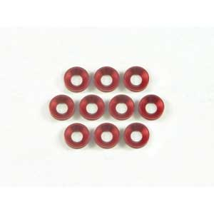 Aluminium Flat Head Washer 4mm - Red (10Pcs)