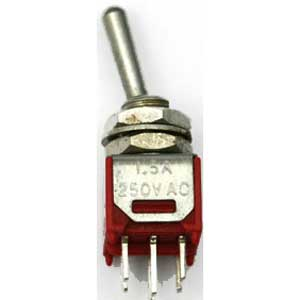2-polige mini-schakelaar ON-OFF-ON 250V/1.5A